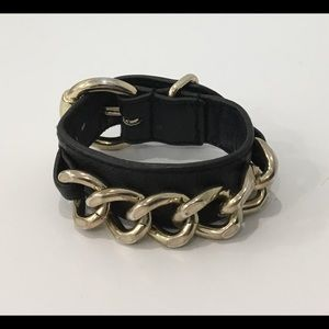 Black and Gold-Tone Faux Leather Bracelet